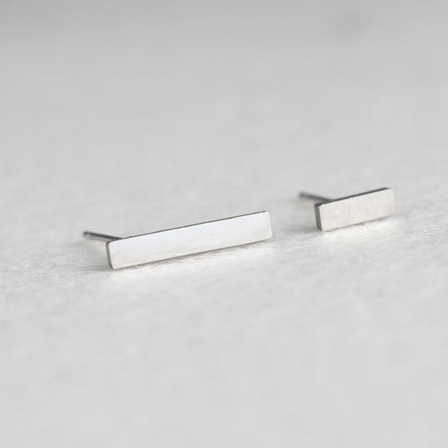 Silver Stainless Steel Super Cute Minimalist Geometric Stud Earrings Collection Stud Earrings Shine Lives Store Stick