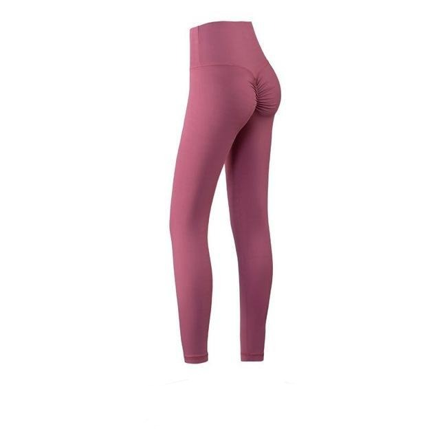 The Naked Feeling Scrunch Butt Deep V Booty High-Waisted Gym Yoga Workout Leggings Yoga Pants hearuisavy Official Store Blushing Dusty Rose Pink S