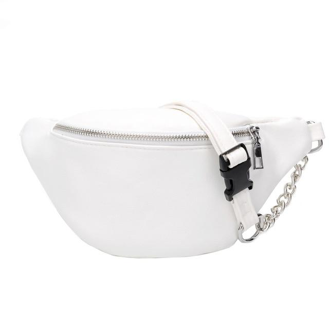 Classic Motorcycle Fanny Pack Waist Bag Waist Packs Woweino Store White
