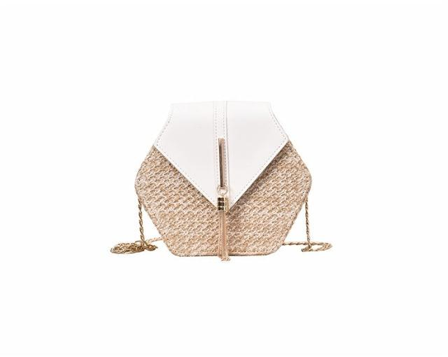 The Bohemian Hexagon Straw Woven Rattan Shoulder Crossbody Bag Shoulder Bags Parcel bag Store White