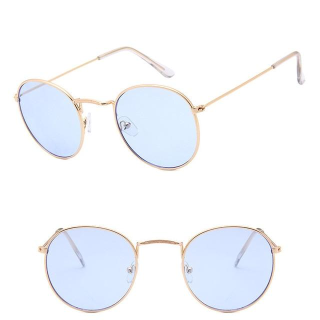 Classic Round Sun Street Beat Unix Mirror Sunglasses Women's Sunglasses RBROVO Official Store Gold Ocean Blue