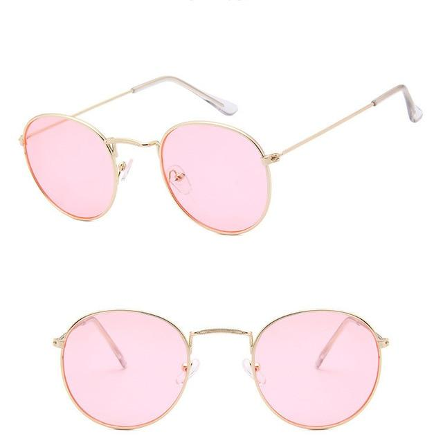 Classic Round Sun Street Beat Unix Mirror Sunglasses Women's Sunglasses RBROVO Official Store Gold Ocean Pink