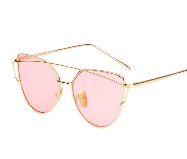 The Cat Eye Vintage Reflective Flat Lens Designer Glasses Aviator Women's Sunglasses ProudDemon Official Store gold pink O