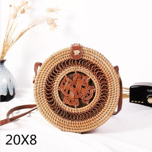 The Bali Island Handmade Woven Rattan Straw Bohemian Shoulder Crossbody Bag Collection Shoulder Bags AOILDLLI Official Store Dark Light Natural Double Emblem (20cm x 8cm)