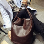 The Bucket Shopping Large Shoulder Crossbody Tote Leather Bag Shoulder Bags Yogodlns Official Store Dark Brown