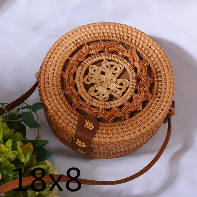 The Bali Island Handmade Woven Rattan Straw Bohemian Shoulder Crossbody Bag Collection Shoulder Bags AOILDLLI Official Store Double Emblem Dark Light (18cm x 8cm)
