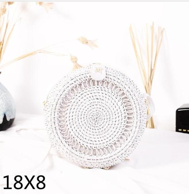 The Bali Island Handmade Woven Rattan Straw Bohemian Shoulder Crossbody Bag Collection Shoulder Bags AOILDLLI Official Store White & Minimal 3 (18cm x 8cm)