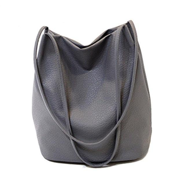 The Bucket Shopping Large Shoulder Crossbody Tote Leather Bag Shoulder Bags Yogodlns Official Store Dark Grey