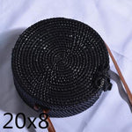 The Bali Island Handmade Woven Rattan Straw Bohemian Shoulder Crossbody Bag Collection Shoulder Bags AOILDLLI Official Store Black & Minimal w. Bow (20cm x 8cm)