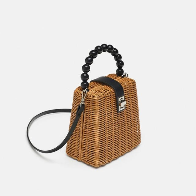 The Poised Rattan Bag Hardware Buckle Straw Bamboo Woven Crossbody Bag and Handbag Top-Handle Bags luminesky Store Brown