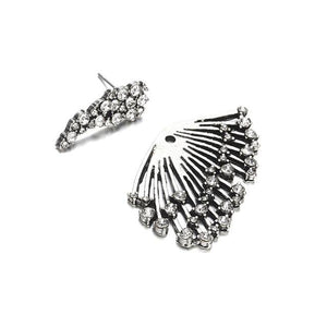 The Fireworks Statement Crystal Stud Punk Rock Earrings (ONE SINGLE EARRING) Stud Earrings Fitable Trendy Store Gun Metal