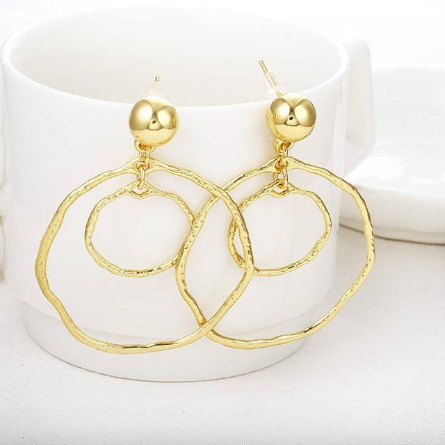 Loopy for Hoops Big Round Hollow Geometric Earrings Collection Drop Earrings ZSC JEWLRY & ACCESSORIES Rugged Gold Hoops
