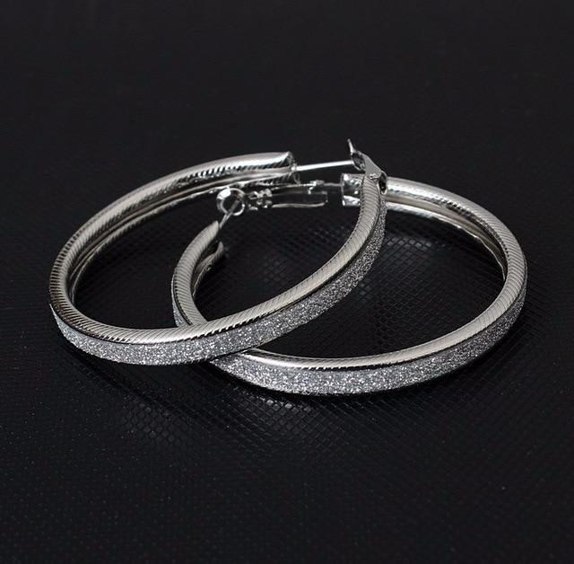 Loopy for Hoops Big Round Hollow Geometric Earrings Collection Drop Earrings ZSC JEWLRY & ACCESSORIES Bling Silver Hoops