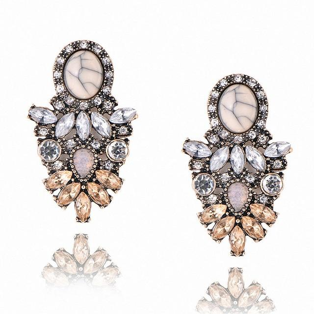 The Hypnotic Bling Ultimate Bejeweled Party Evening Wear Stud Earrings Collection Stud Earrings Fitable Trendy Store Marble Geometric Flower