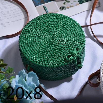 The Bali Island Handmade Woven Rattan Straw Bohemian Shoulder Crossbody Bag Collection Shoulder Bags AOILDLLI Official Store Green & Minimal w. Bow (20xm x 8cm)