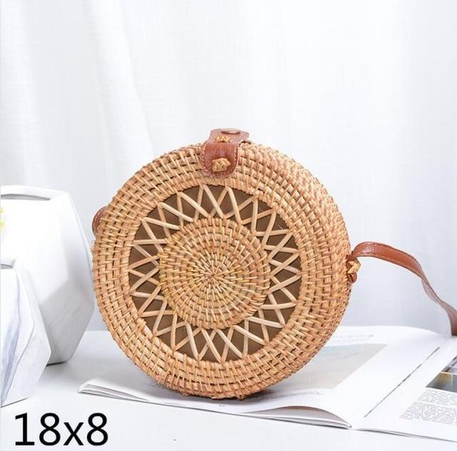 The Bali Island Handmade Woven Rattan Straw Bohemian Shoulder Crossbody Bag Collection Shoulder Bags AOILDLLI Official Store Natural Double Star (18cm x 8cm)