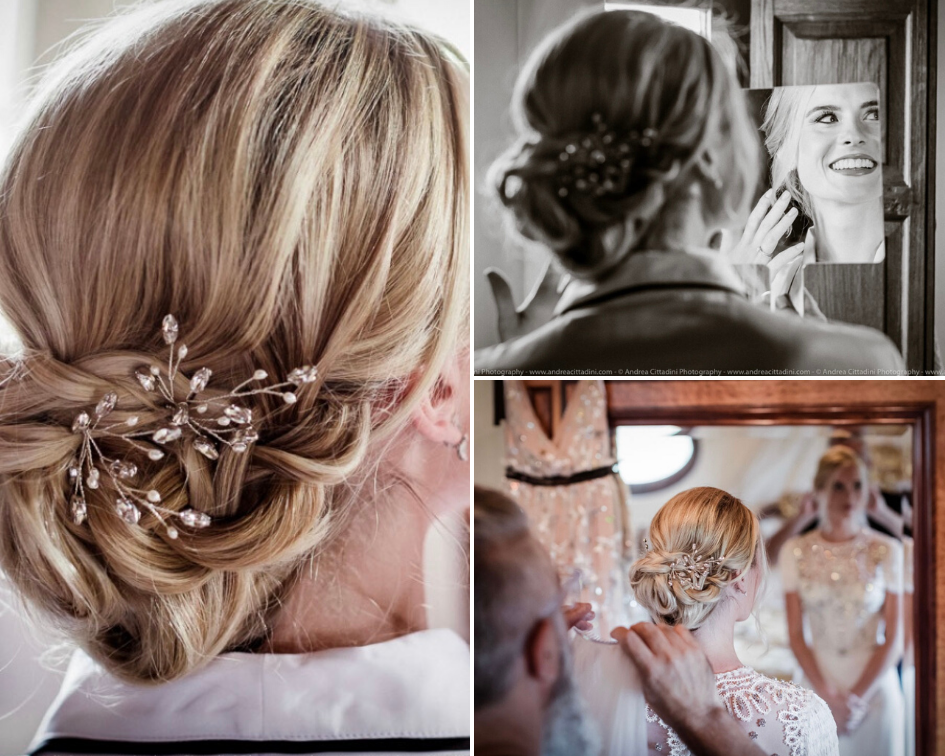 Debbie Carlisle Real Bride wears Crystal and Pearl Hair Pins Maisie