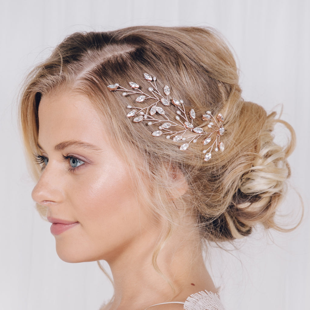 Large rose gold wedding hair pins crystal and pearl