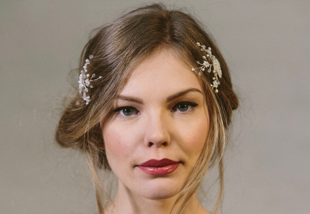 Imogen boho Ivory flower wedding hair combs in mother of pearl