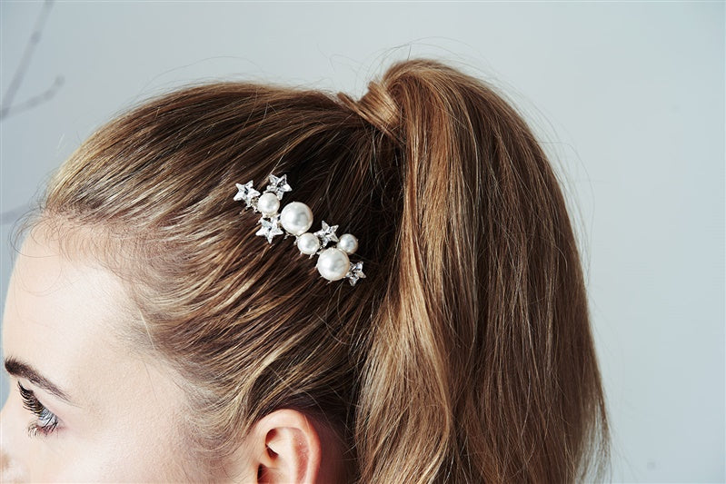 Star Crystal and pearl wedding hair comb