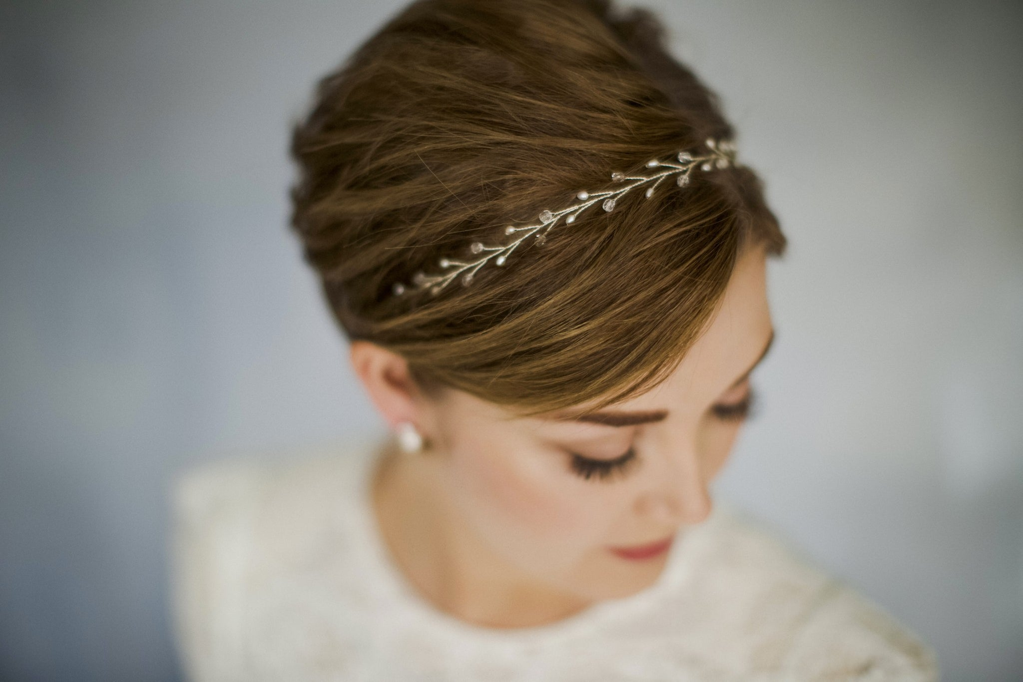 Simple crystal and pearl silver wedding headband with ribbon ties