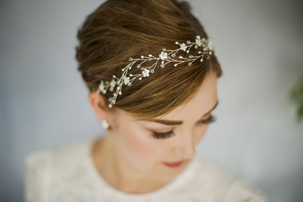 Braided interwoven wedding hair vine headband for a short haired bride