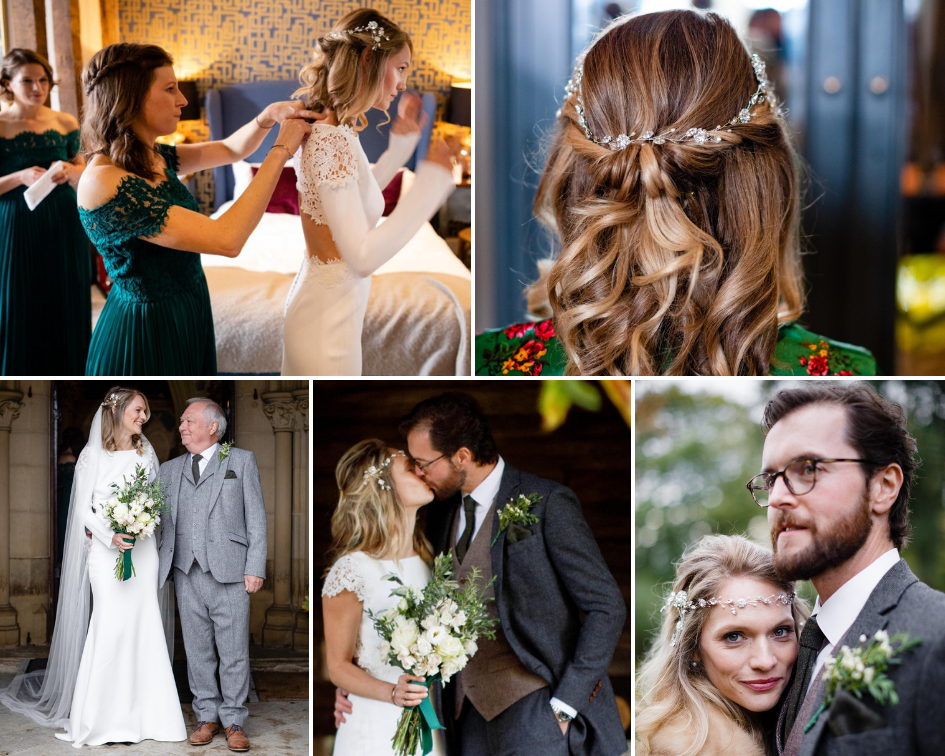 Debbie Carlisle Real Bride wears silver crystal flower and pearl Grecian style bridal hair vine Cora