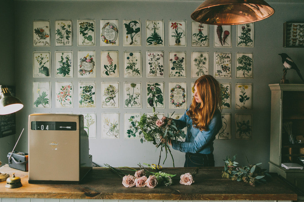 Anna Potter from Swallows and Damsons in her little flower shop Sheffield