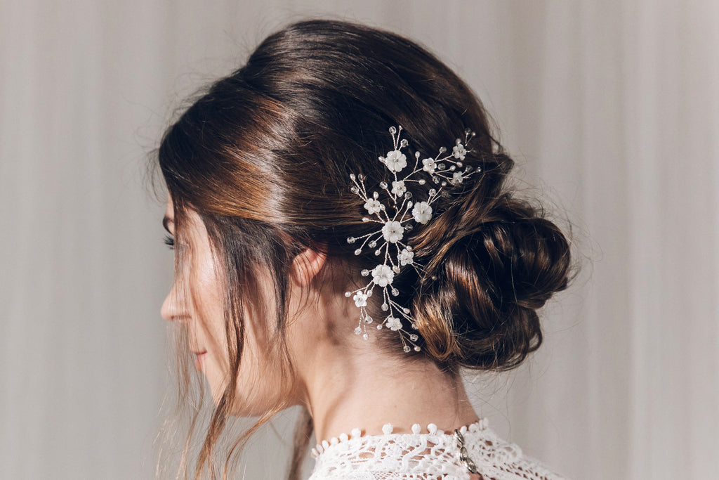 Small floral mother of pearl updo wedding hairvine side headpiece