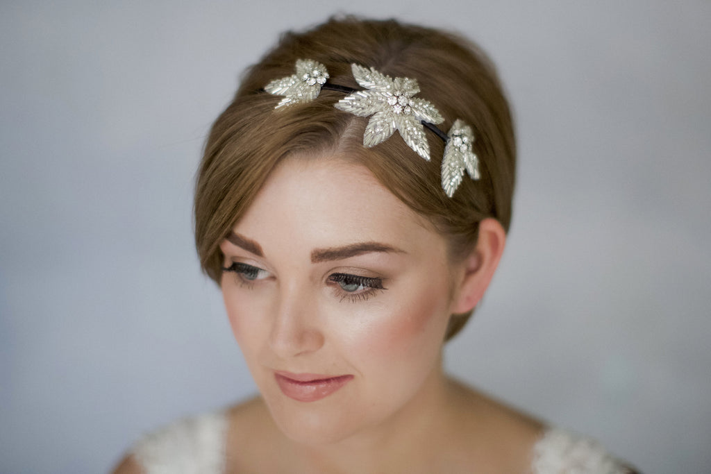 Flower headband for a bride with short hair