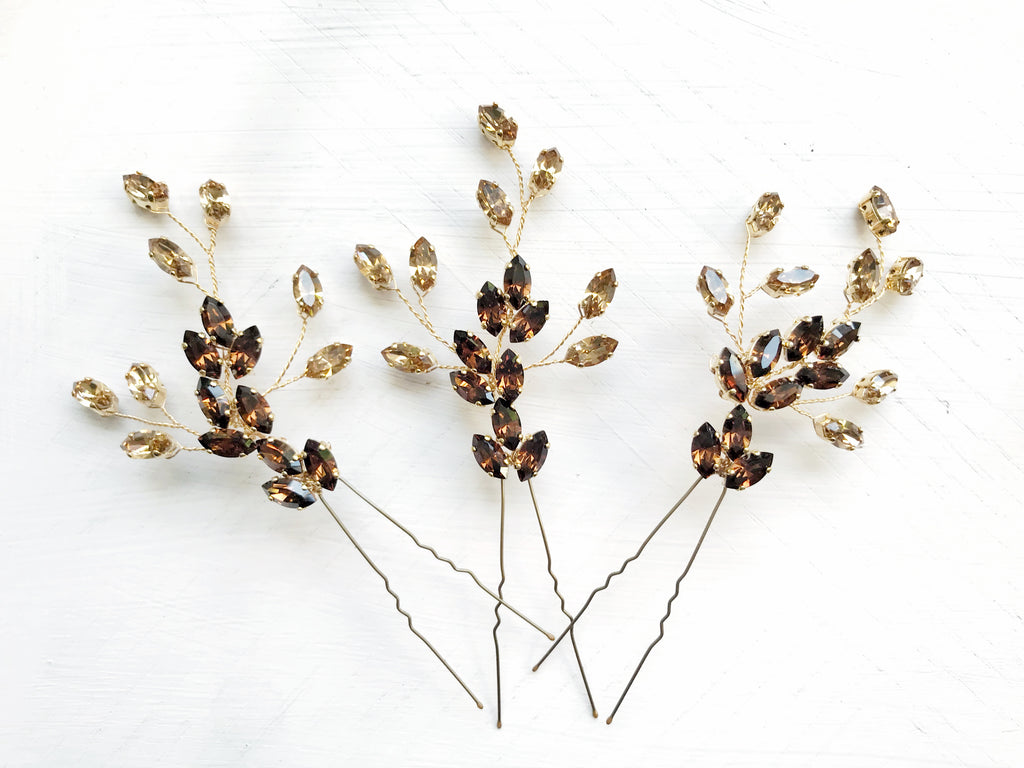 Bespoke two tone topaz large wedding hairpin trio set