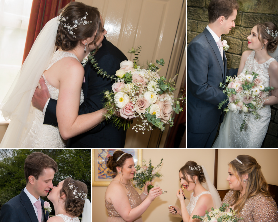 Debbie Carlisle Real Bride wears Silver Crystal and Pearl Statement Hair Vine Sybil