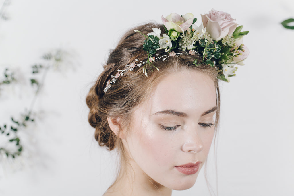 Blush pink mother of pearl floral wedding headband with flower crown