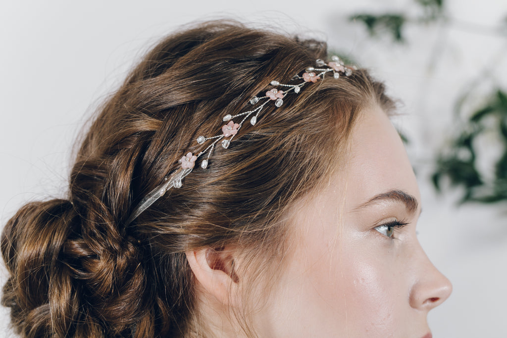 antique blush pink flower bridal headband
