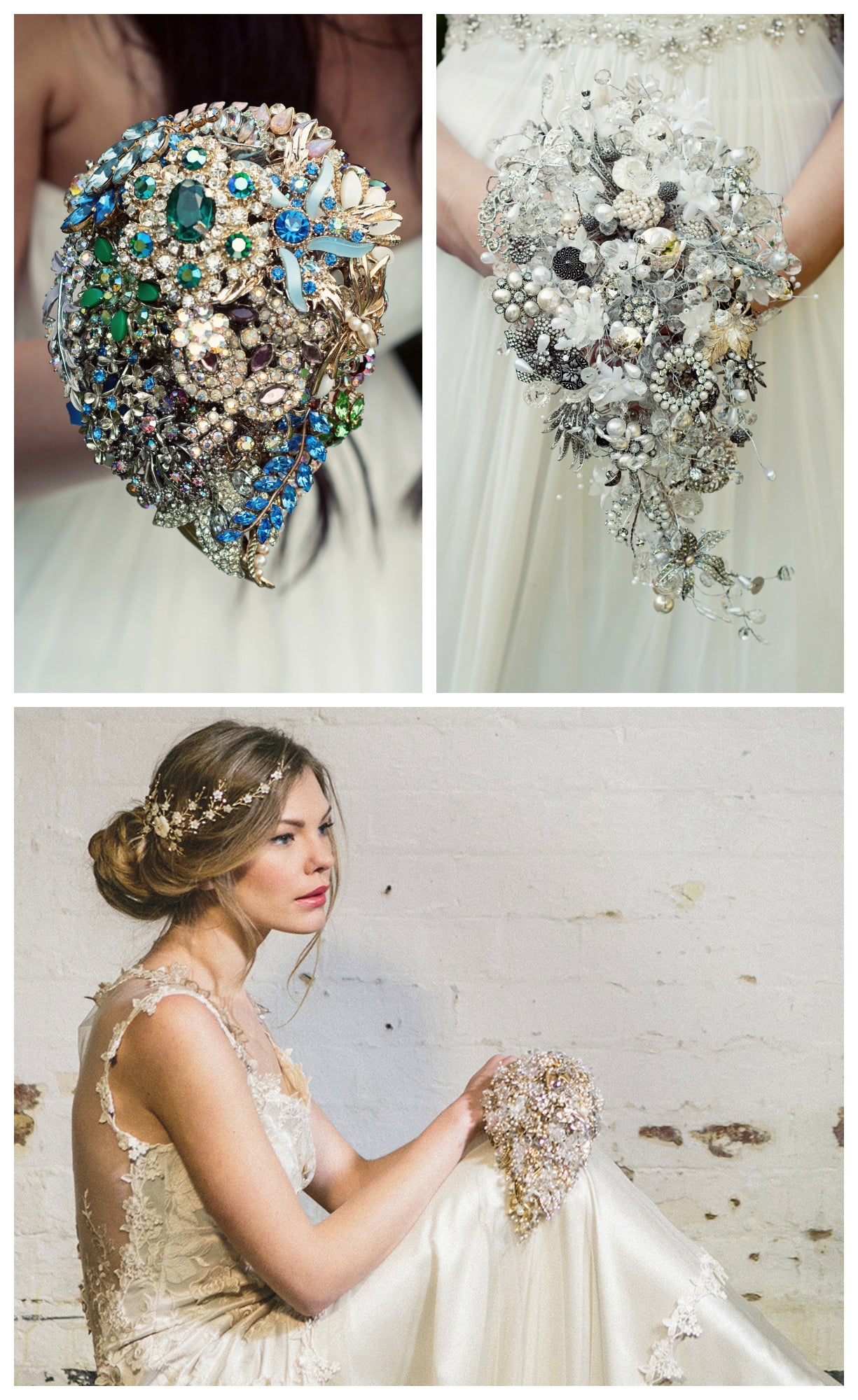 Vintage brooch teardrop wedding bouquet