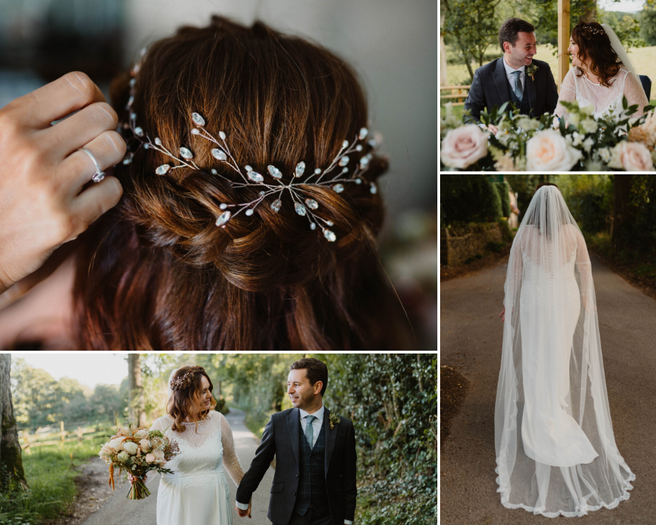 Debbie Carlisle Real Bride wears Rose Gold Swarovski Crystal and Pearl Hairvine Lily