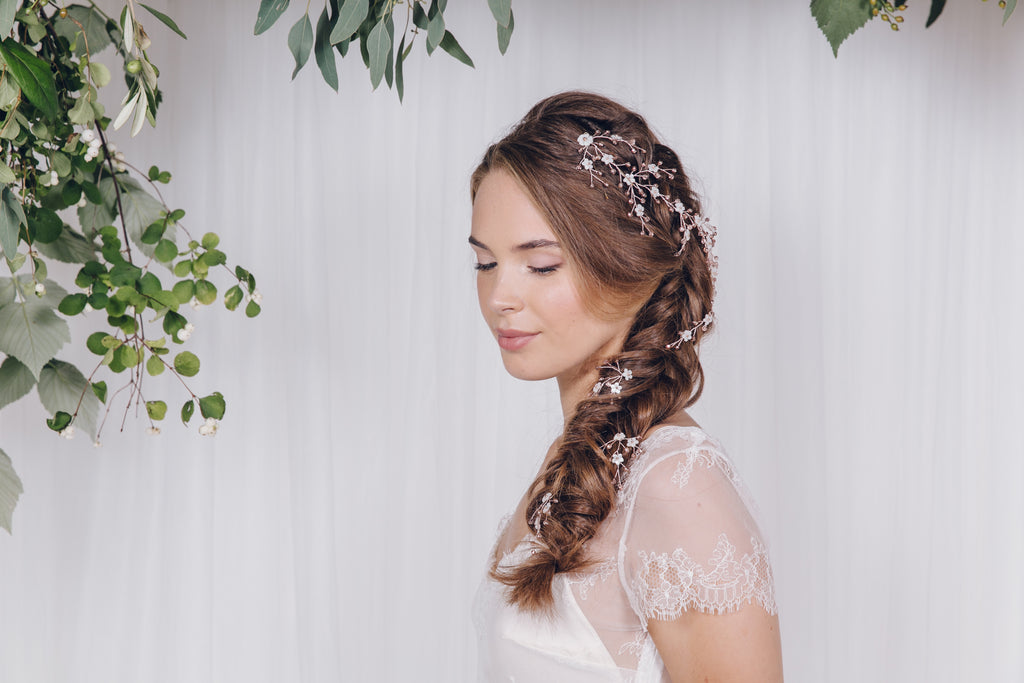 rose gold flower wedding hairvine and hairpins