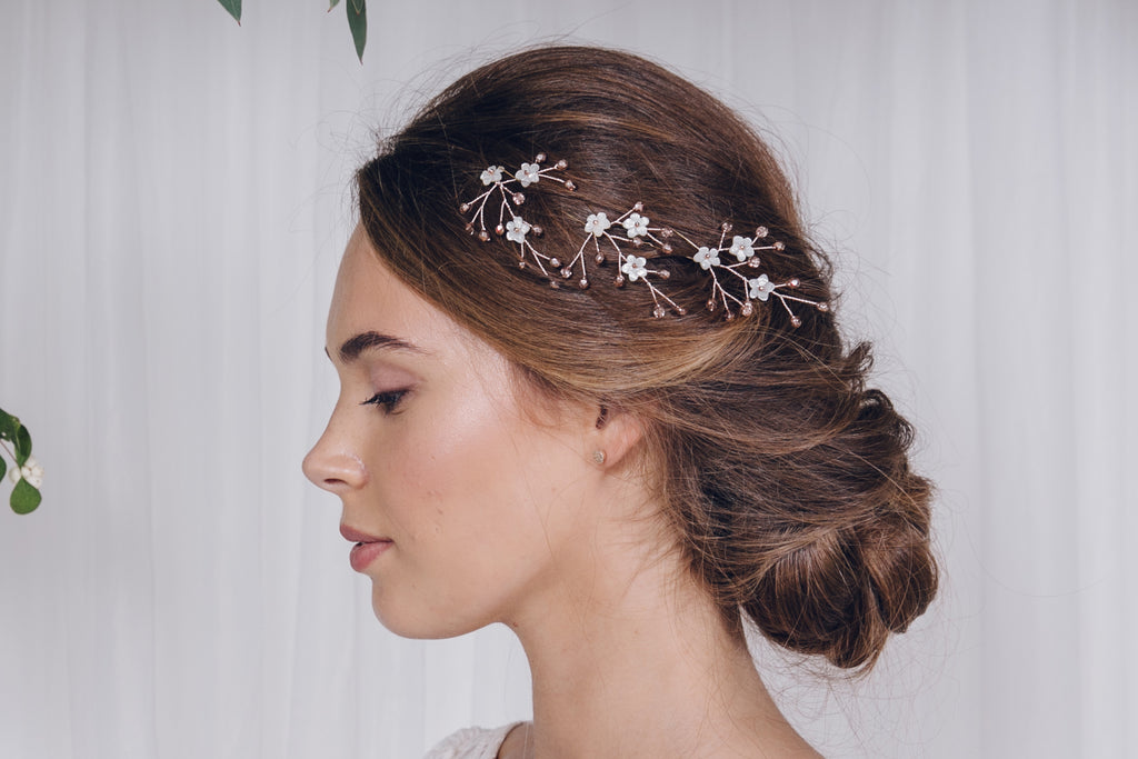 Floral wedding flower hair pins Coralie
