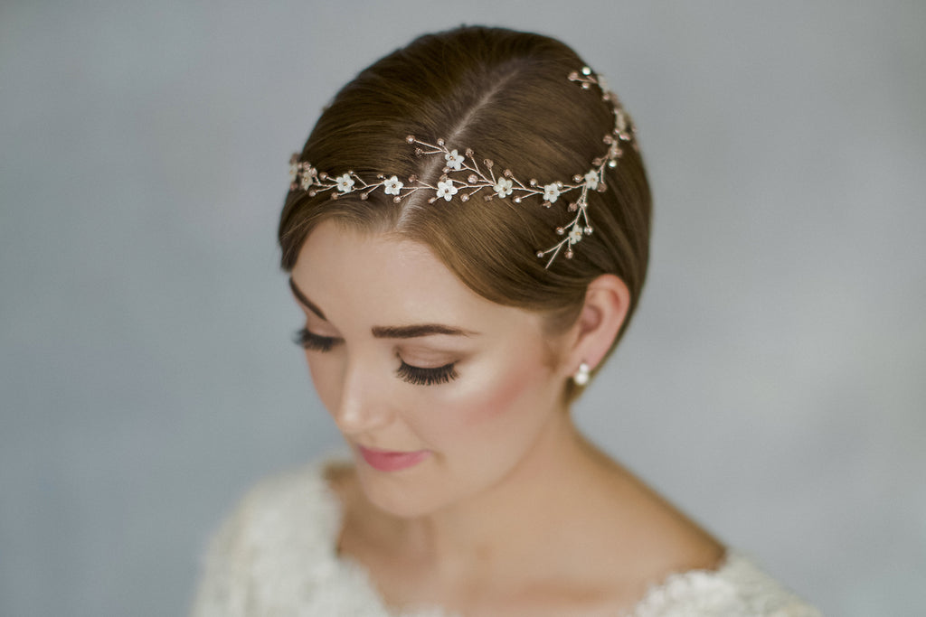 flower crown wedding circlet halo for a short hair bride