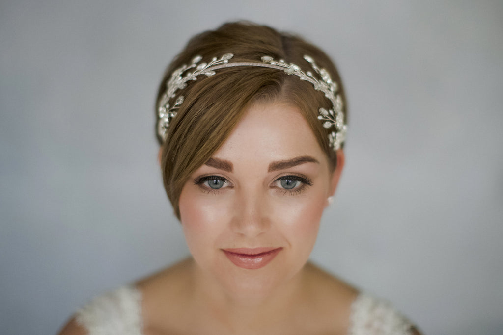 Mirror image double ended flower wedding headband for a short haired bride