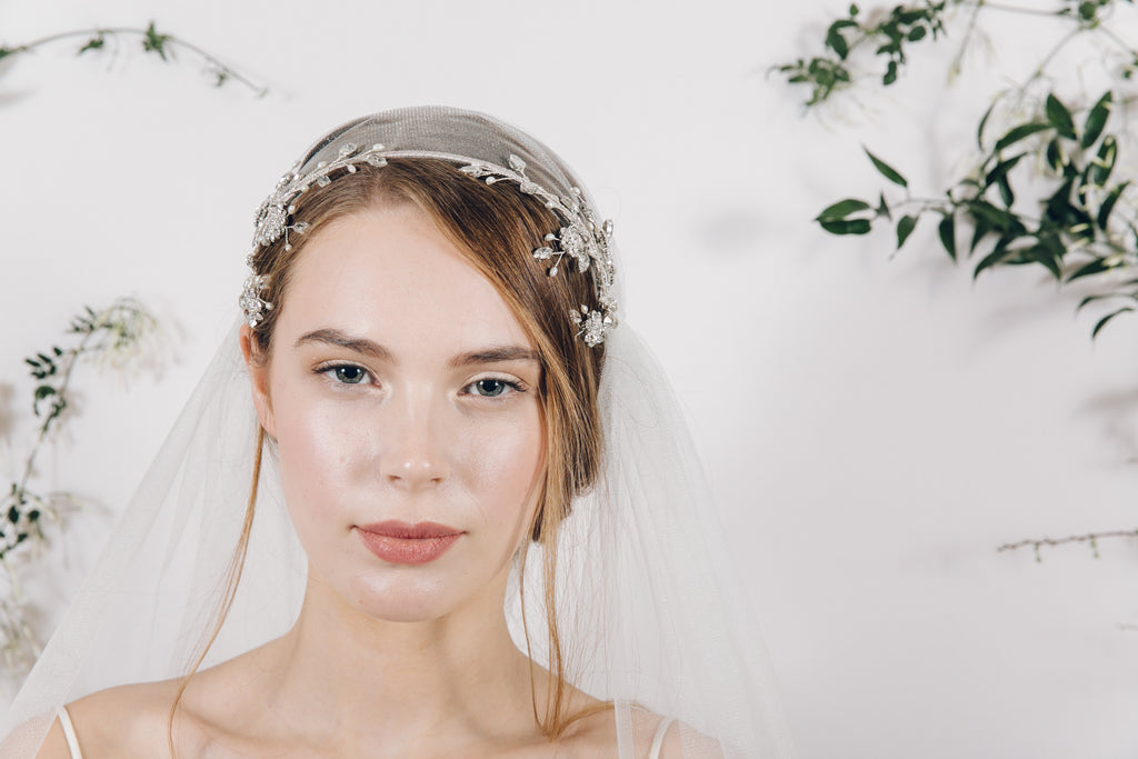 Double crystal flower vine wedding headband with Juliet cap veil