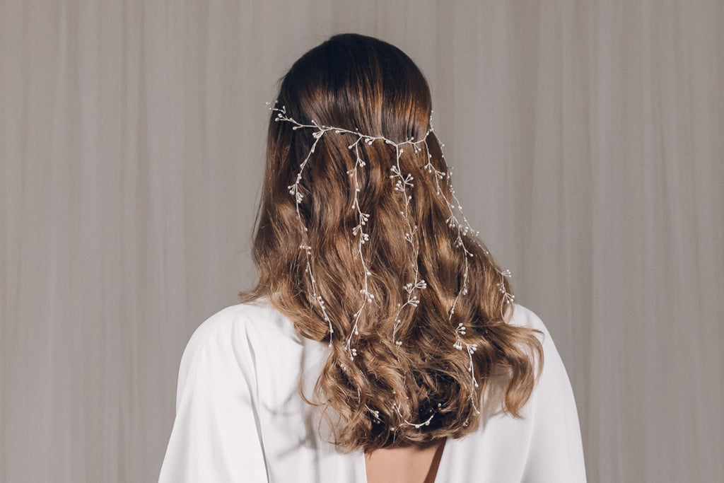 Waterfall bridal hair vine veil in silver and freshwater pearl