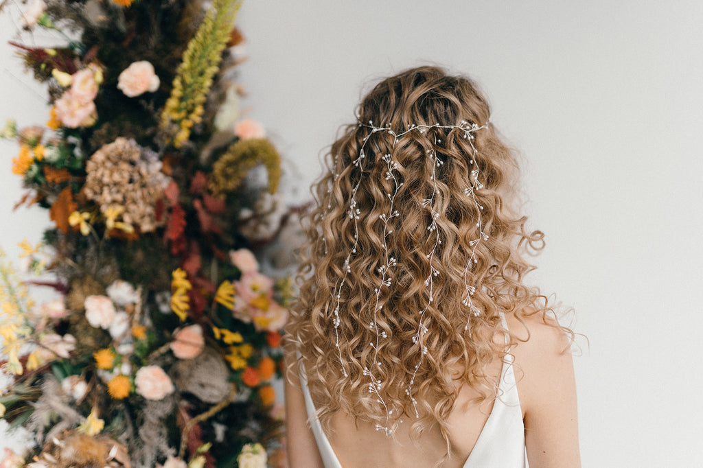 Elise waterfall wedding hairvine veil