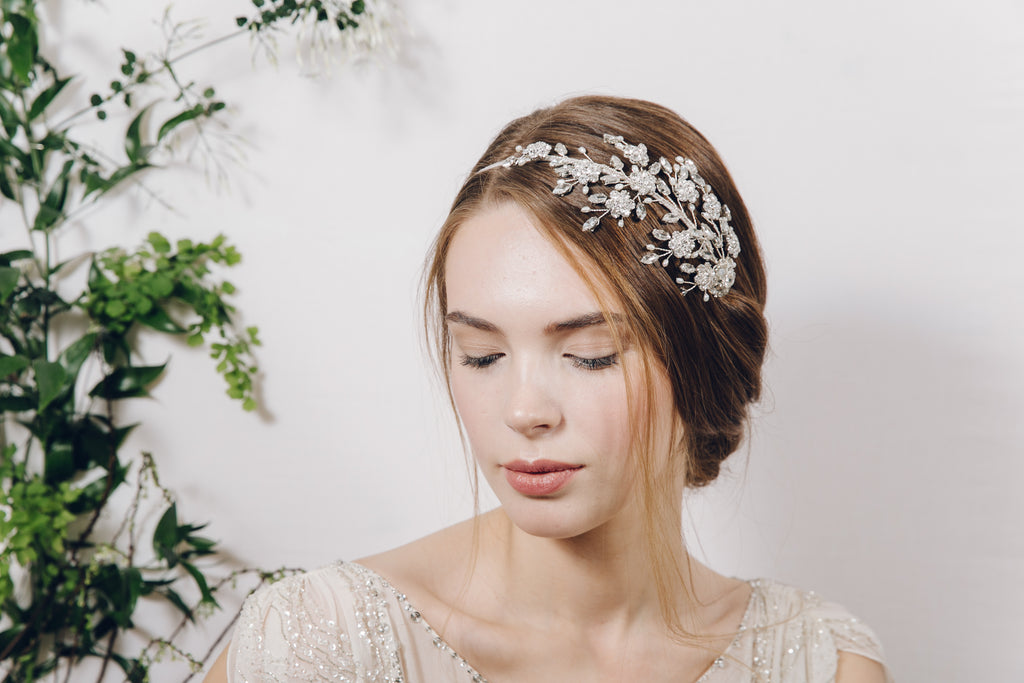 Etta statement floral crystal vintage wedding headband