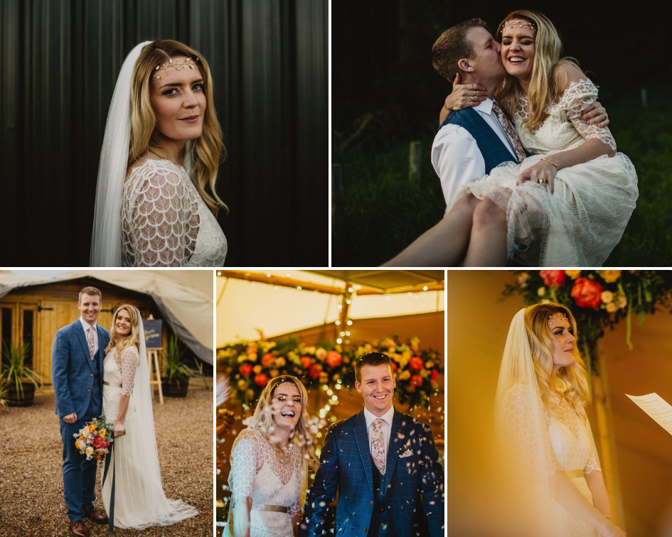 Debbie Carlisle Real Bride wears gold crystal and pearl hair vine India
