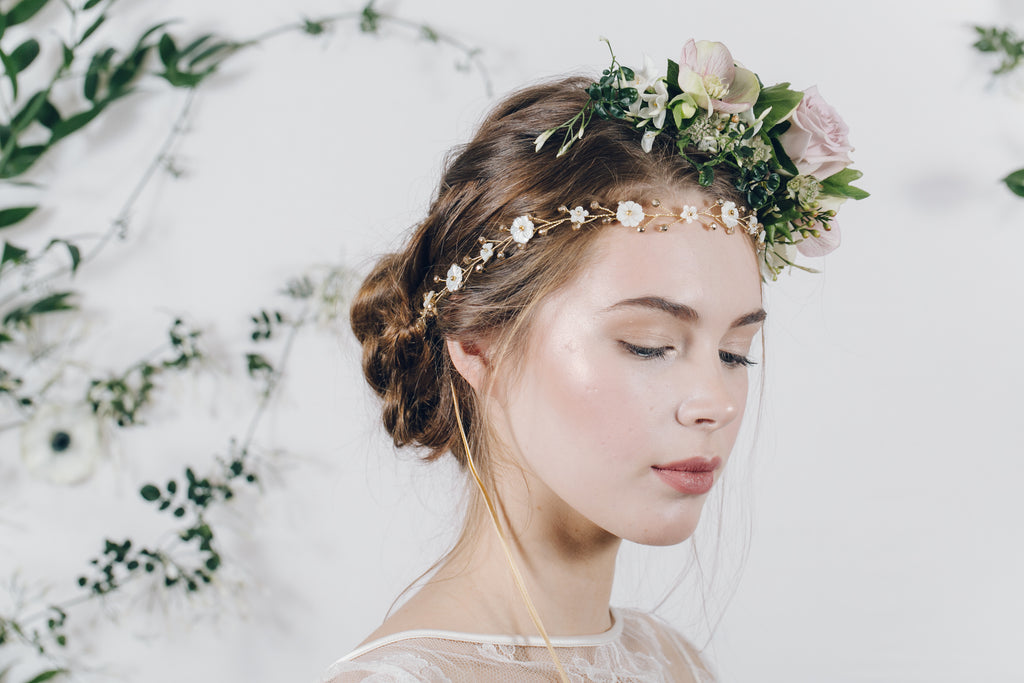 Fresh half flower crown with gold wedding headband
