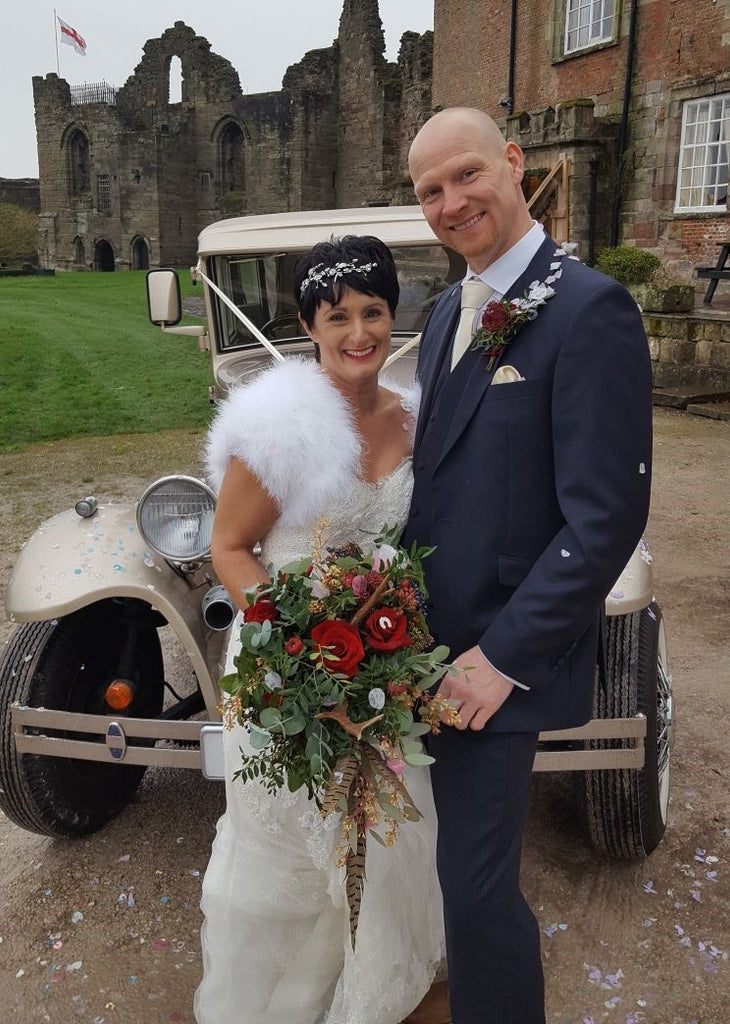 Debbie Carlisle Real Bride wears Sydney Crystal Flower and Pearl Statement Hairvine