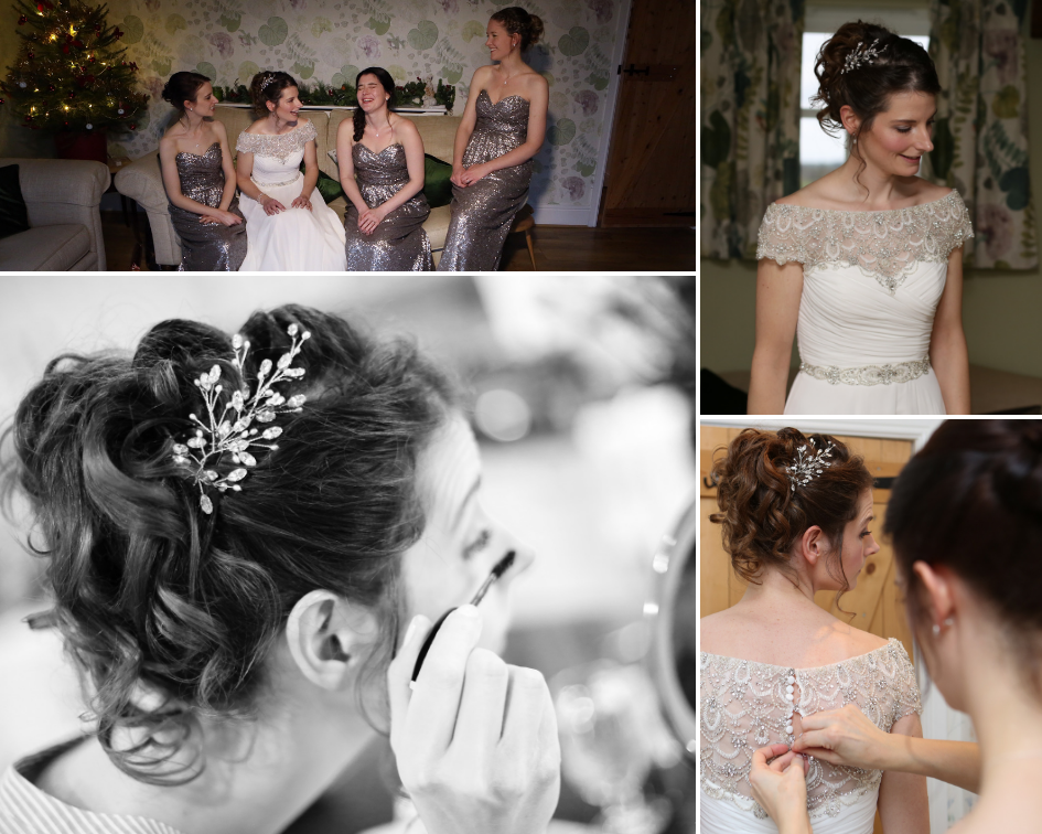 Debbie Carlisle Real Bride wears silver crystal and pearl Maisie hair pins