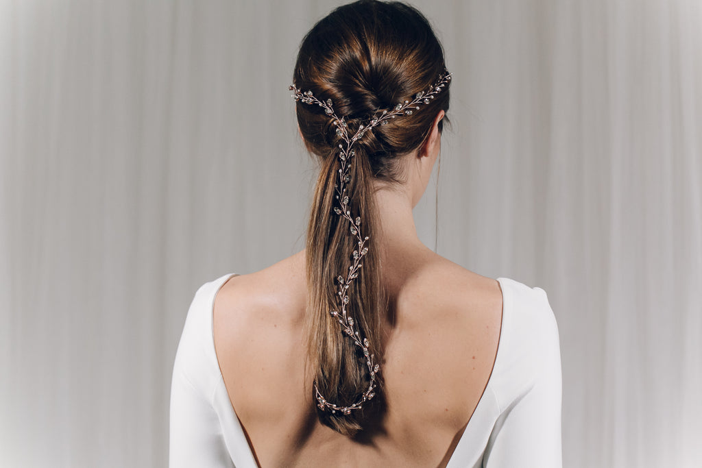 Y plait wedding hairvine in rose gold Swarovski crystal