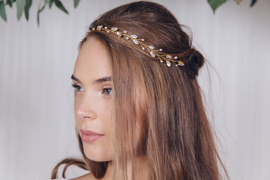 Gold crystal and pearl wedding headband for a rustic bride